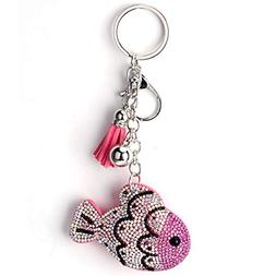 1 Pack Crystal Rhinestone Lucky Fish Purse Keyring Gift Pend