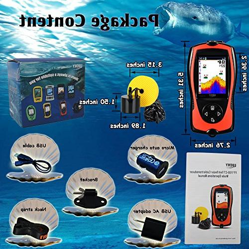 LUCKY Wired Sensor Transducer 328 Feet Depth Finder Screen Kayak Fishing Fishing Sea Fishing