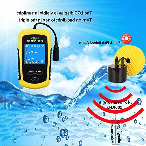 LUCKY Finders for Boats Fishing Kayak Depth Ice Sonar Transducer LCD Display