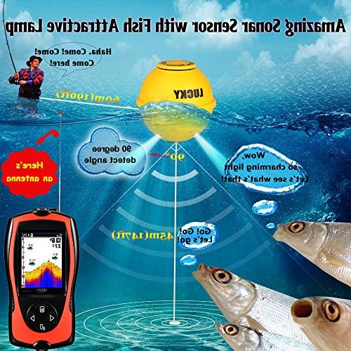 Transducer Feet Water Depth LCD Echo Fishfinder Attractive Lamp for Ice Fishing Sea