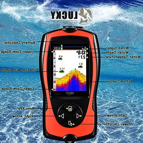 LUCKY Portable Fish Finder Wired Sonar 328 Finder LCD Screen Kayak Fishing Ice Sea Fishing