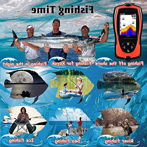 LUCKY Transducer Feet LCD Fishfinder with Fish Lamp Ice Sea