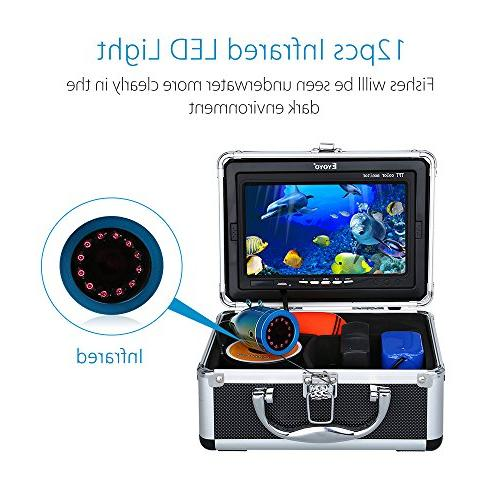 Eyoyo inch LCD Monitor Fish Finder Waterproof 12pcs Infrared for Fishing